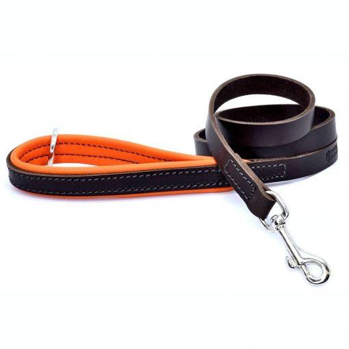 Dogs & Horses Dogs & Horses Gevoerde Lederen Riem oranje