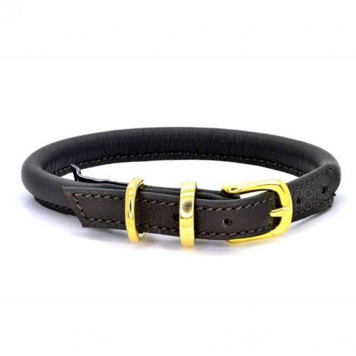 Dogs & Horses Dogs & Horses Lederen Halsband rond zwart/goud