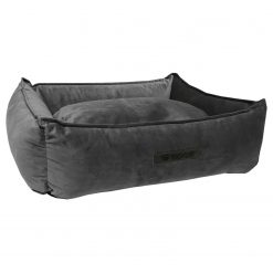 Wooff Mand Cocoon Velours Donkergrijs - Hondenmand - Small
